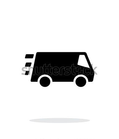 Snel levering minibus icon witte auto Stockfoto © tkacchuk
