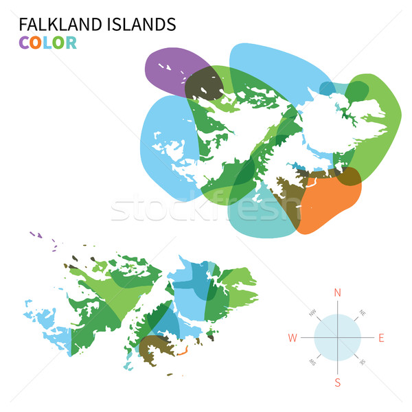 Abstract vector color map of Falkland Islands with transparent paint effect. Stock photo © tkacchuk