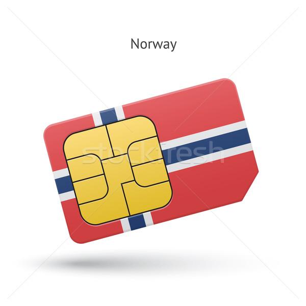 Норвегия мобильного телефона карт флаг бизнеса дизайна Сток-фото © tkacchuk