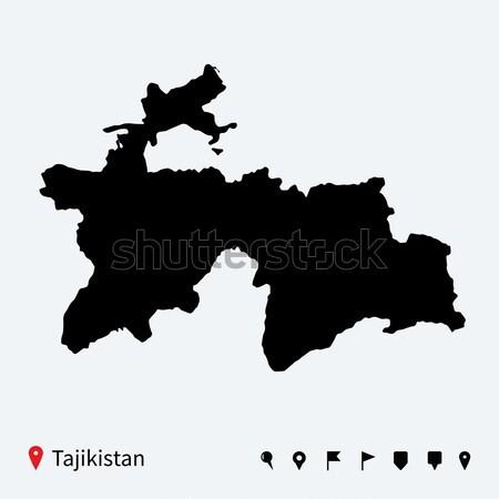 Magas részletes vektor térkép Tádzsikisztán navigáció Stock fotó © tkacchuk
