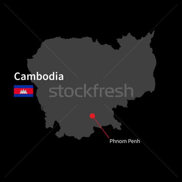 Detailed map of Cambodia and capital city Phnom Penh with flag on black background Stock photo © tkacchuk