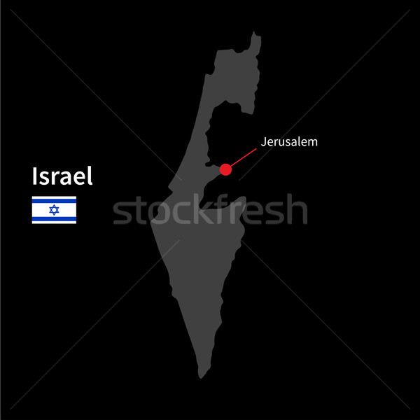 Detailed map of Israel and capital city Jerusalem with flag on black background Stock photo © tkacchuk