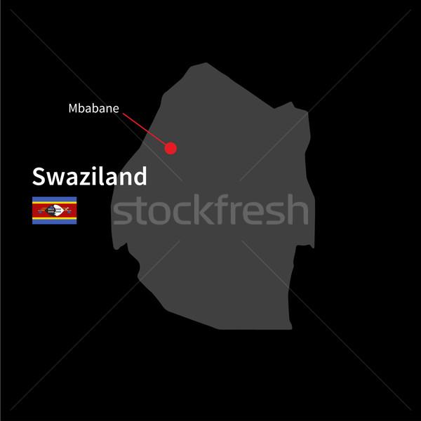 Szczegółowy Pokaż Suazi miasta banderą czarny Zdjęcia stock © tkacchuk