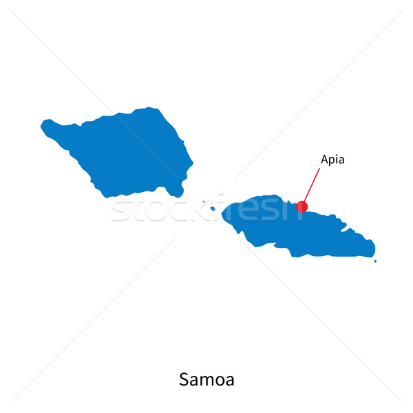 Detailed vector map of Samoa and capital city Apia Stock photo © tkacchuk