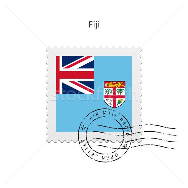 Fidzsi-szigetek zászló postabélyeg fehér felirat levél Stock fotó © tkacchuk