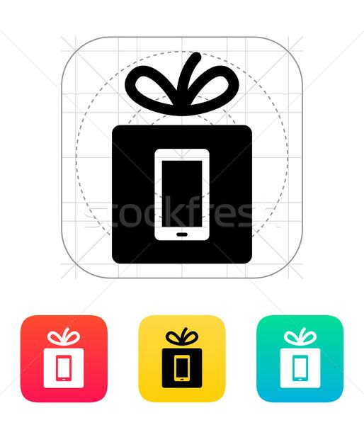 Ajándék mobiltelefon ikon telefon születésnap technológia Stock fotó © tkacchuk