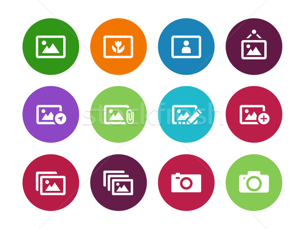 Photographs and Camera circle icons. Stock photo © tkacchuk