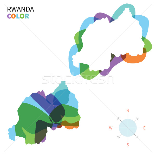 Abstract vector color map of Rwanda with transparent paint effect. Stock photo © tkacchuk