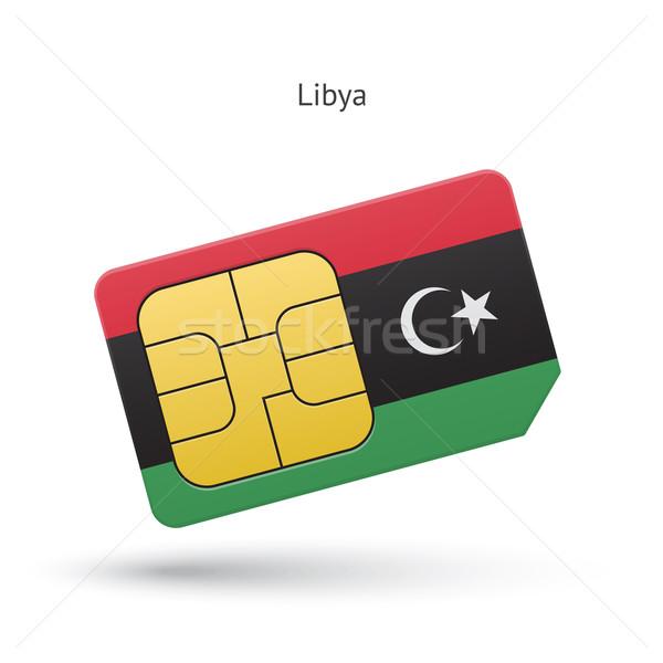 Libia telefonu komórkowego karty banderą działalności projektu Zdjęcia stock © tkacchuk