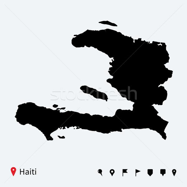 Alto dettagliato vettore mappa Haiti navigazione Foto d'archivio © tkacchuk