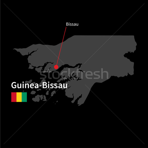 Detailed map of Guinea-Bissau and capital city Bissau with flag on black background Stock photo © tkacchuk