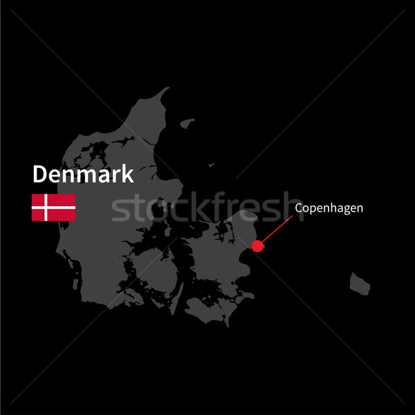 Detailed map of Denmark and capital city Copenhagen with flag on black background Stock photo © tkacchuk