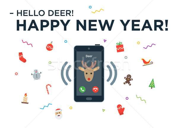 Christmas Reindeer incoming phone call with lettering Happy New Year and design elements Stock photo © tkacchuk