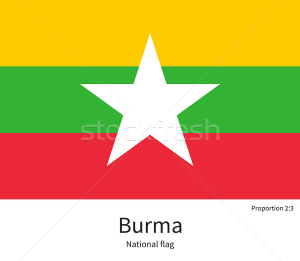 National flag of Burma with correct proportions, element, colors Stock photo © tkacchuk