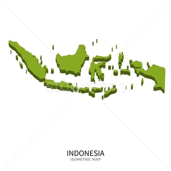 изометрический карта Индонезия подробный изолированный 3D Сток-фото © tkacchuk