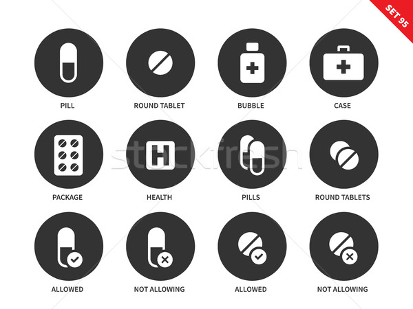 Pills icons on white background Stock photo © tkacchuk