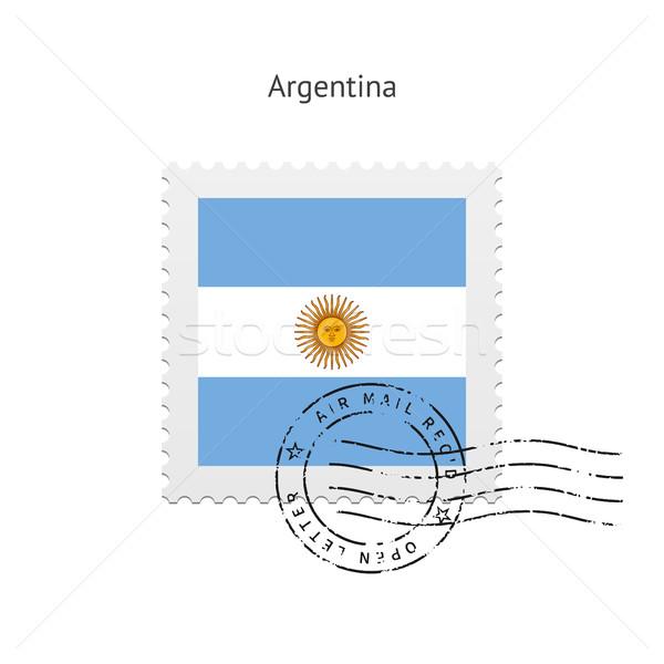 Argentína zászló postabélyeg fehér felirat levél Stock fotó © tkacchuk