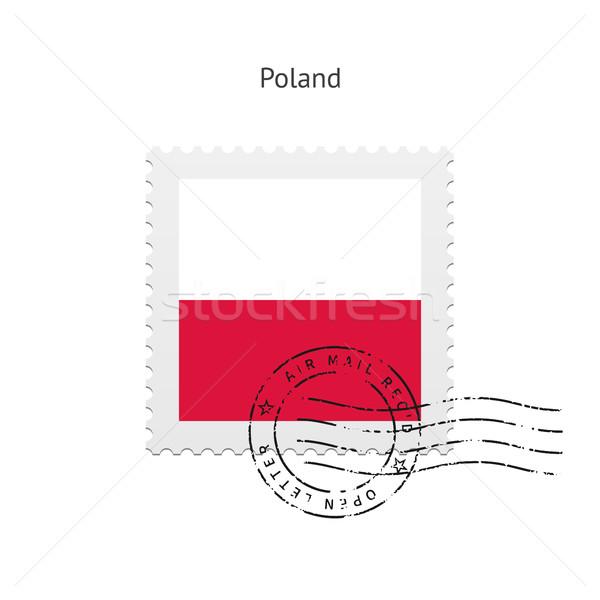Польша флаг почтовая марка белый знак письме Сток-фото © tkacchuk