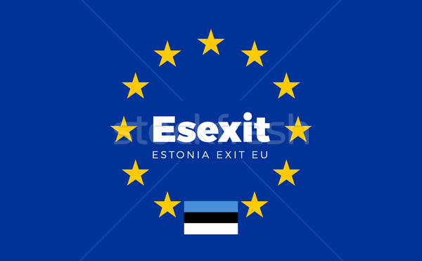 Flag of Estonia on European Union. Esexit - Estonia Exit EU Euro Stock photo © tkacchuk