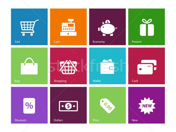 Winkelen iconen kleur financieren zak geschenk Stockfoto © tkacchuk