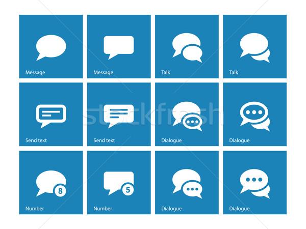 Message bubble icons on blue background. Stock photo © tkacchuk