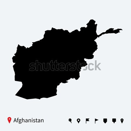 High detailed vector map of Afghanistan with navigation pins. Stock photo © tkacchuk