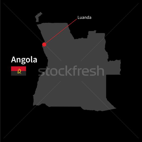 подробный карта Ангола город флаг черный Сток-фото © tkacchuk
