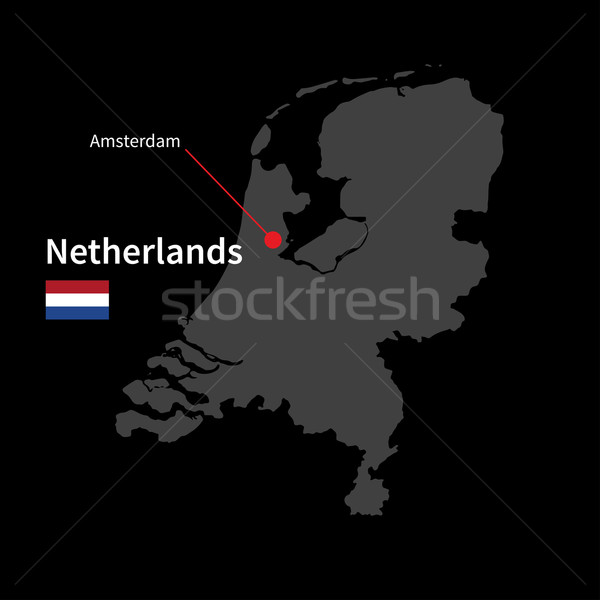 Stock photo: Detailed map of Netherlands and capital city Amsterdam with flag on black background