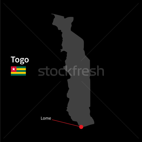 Detailed map of Togo and capital city Lome with flag on black background Stock photo © tkacchuk
