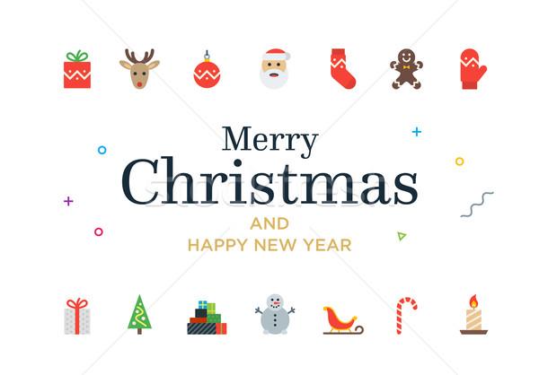 Modern Christmas Card with icons. Minimalistic illustration Stock photo © tkacchuk