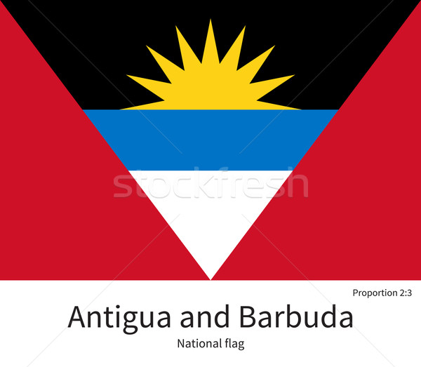 National flag of Antigua and Barbuda with correct proportions, element, colors Stock photo © tkacchuk