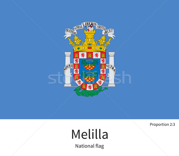 National flag of Melilla with correct proportions, element, colors Stock photo © tkacchuk