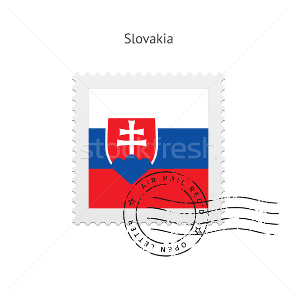 Szlovákia zászló postabélyeg fehér felirat levél Stock fotó © tkacchuk