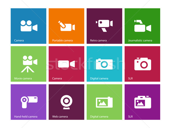 Camera icons on color background. Stock photo © tkacchuk