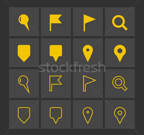 GPS nawigacja ikona Pokaż podpisania banderą Zdjęcia stock © tkacchuk