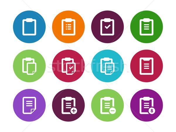 Stockfoto: Cirkel · iconen · witte · ontwerp · onderwijs