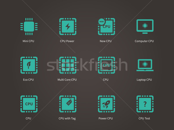 CPU (central processing unit) icons set. Stock photo © tkacchuk