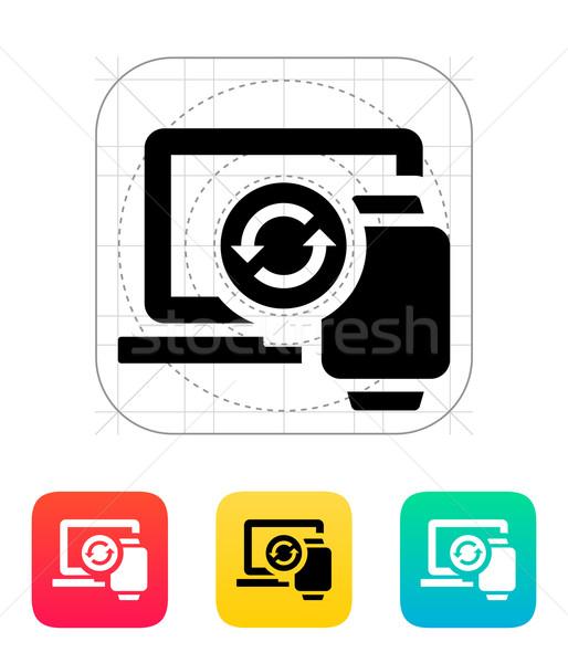 Smart watch synchronization with PC icon. Stock photo © tkacchuk