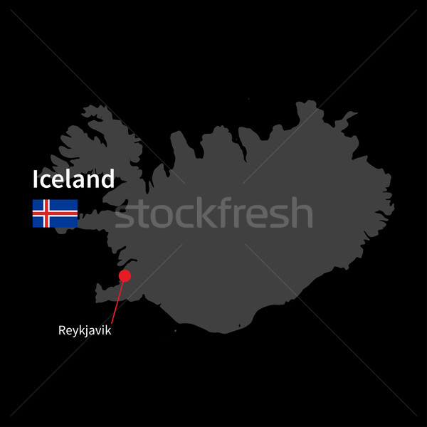 Detailed map of Iceland and capital city Reykjavik with flag on black background Stock photo © tkacchuk