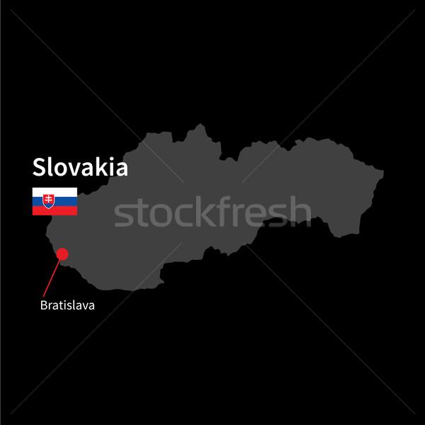 Detailed map of Slovakia and capital city Bratislava with flag on black background Stock photo © tkacchuk