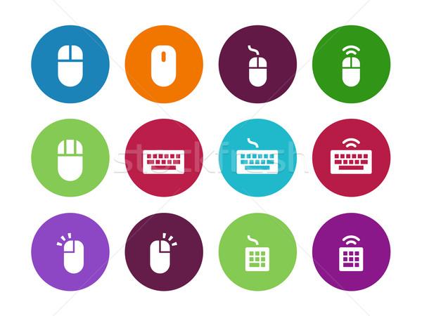 Computer mouse circle icons on white background. Stock photo © tkacchuk