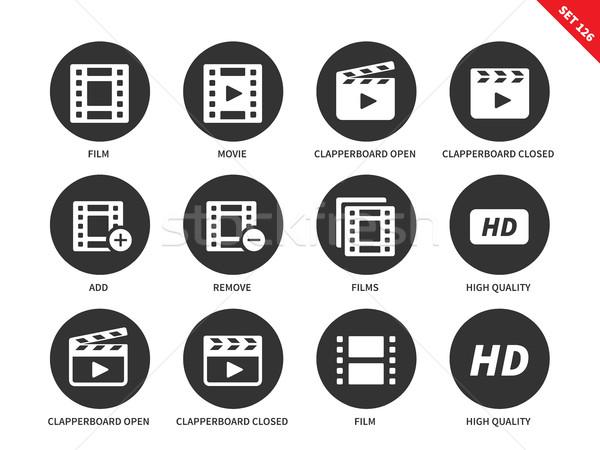 Videó ikonok fehér vektor ikon szett filmipar Stock fotó © tkacchuk