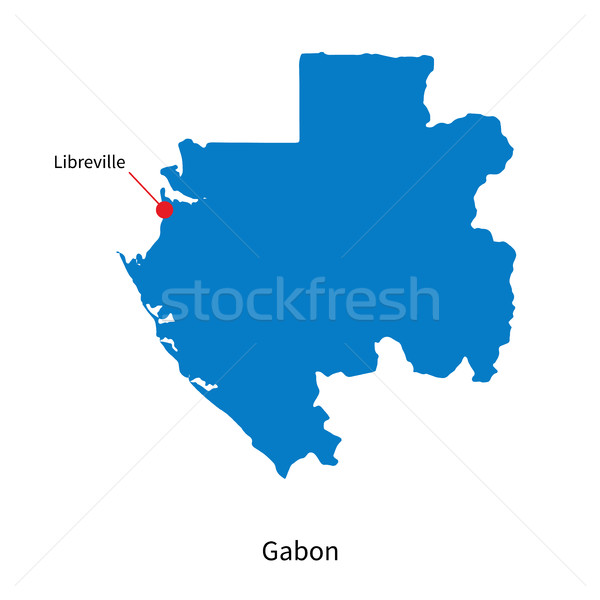 Detailed vector map of Gabon and capital city Libreville Stock photo © tkacchuk