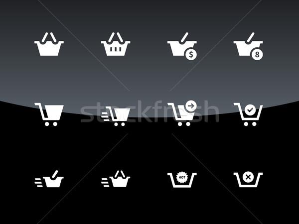 Pénztár ikonok fekete üzlet terv bolt Stock fotó © tkacchuk