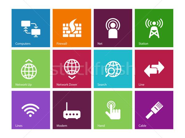 Netwerken iconen kleur hand computers netwerk Stockfoto © tkacchuk