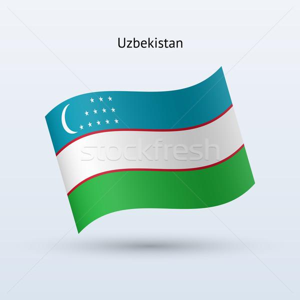 Üzbegisztán zászló integet űrlap szürke felirat Stock fotó © tkacchuk