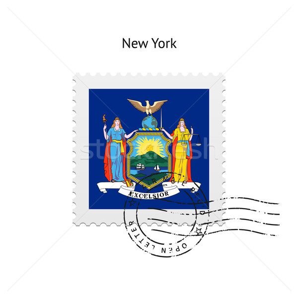 Stock photo: State of New York flag postage stamp.