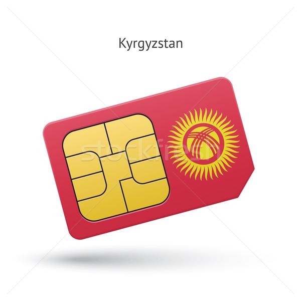 Kırgızistan cep telefonu kart bayrak iş dizayn Stok fotoğraf © tkacchuk