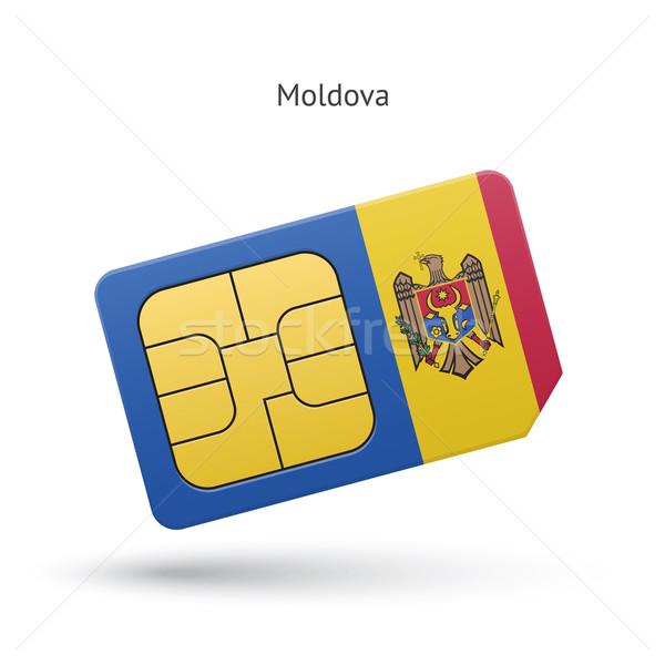 Mołdawia telefonu komórkowego karty banderą działalności projektu Zdjęcia stock © tkacchuk