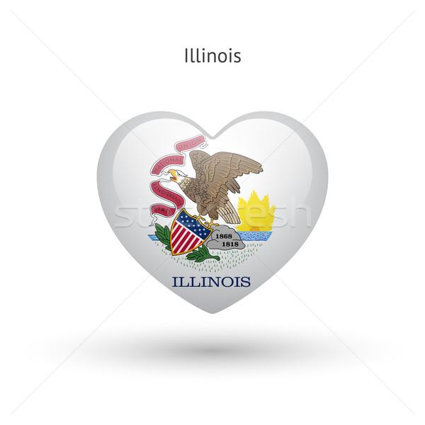 Sevmek Illinois simge kalp bayrak ikon Stok fotoğraf © tkacchuk